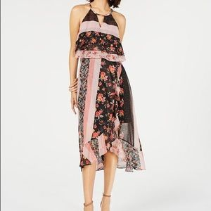 NWT Kensie Floral Mixed Print High-Low Dress